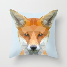 Low poly fox on blue/grey background Throw Pillow