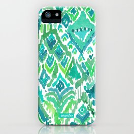 Spring TEMPLE TRIBAL Green Ikat iPhone Case
