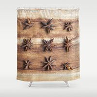 baking Shower Curtains featuring Stars and Stripes of Baking - Star Anise by Jean Ladzinski