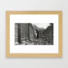 Old Time Godzilla in New York Framed Art Print