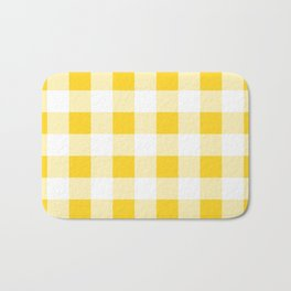 Yellow and White Buffalo Check Bath Mat