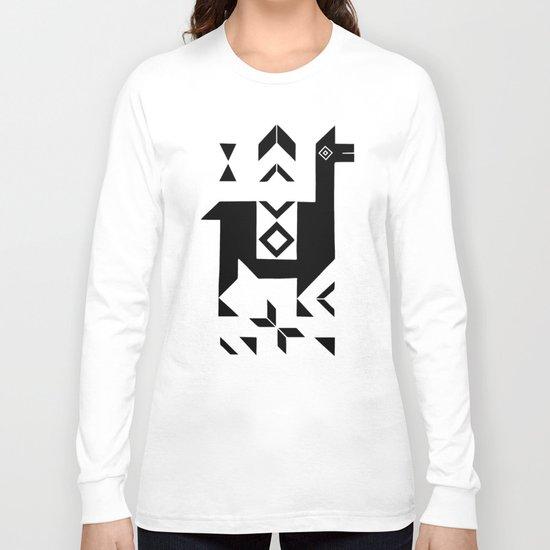 Llamas_Gray & Black Long Sleeve T-shirt