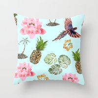 hawaiian Throw Pillows featuring Hawaiian by Stag Prints