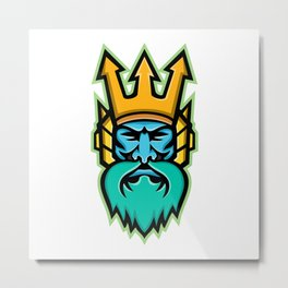 Poseidon Greek God Mascot Metal Print