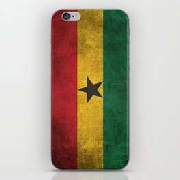 Old and Worn Distressed Vintage Flag of Ghana iPhone Skin