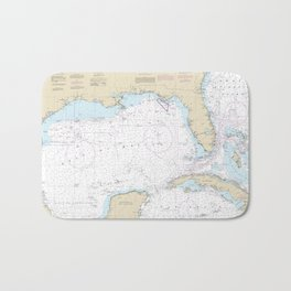 Gulf of Mexico Authentic Nautical Chart No. 411 Bath Mat