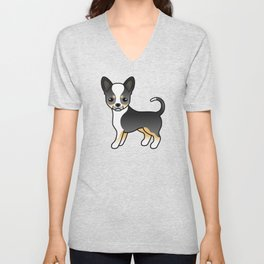 Black Tricolor Smooth Coat Chihuahua Dog Cute Cartoon Illustration Unisex V-Neck