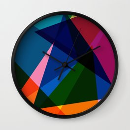 Rainbow Color Blend Triangles Wall Clock
