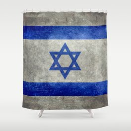 Israeli National Flag in grungy retro style שְׂרָאֵל‎ Shower Curtain