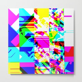 Glitch geometric pattern design artwork Metal Print
