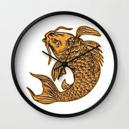 Koi Nishikigoi Carp Fish Jumping Etching Wall Clock