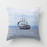 pirate Throw Pillows featuring Pirate by Caio Trindade
