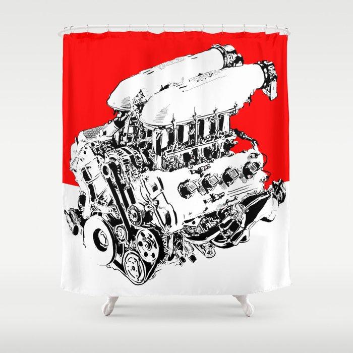 Ferrari F430 Engine pop art print Shower Curtain