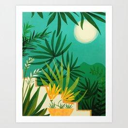 Exotic Garden Nightscape / Tropical Night Series #2 Art Print