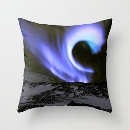 Aurora Borealis Mountains Periwinkle Lavender Throw Pillow