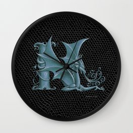 """Dragon Letter N, from """"Dracoserific"""", a font full of Dragons Wall Clock"""