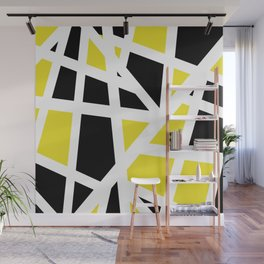 Abstract Interstate  Roadways Black & Yellow Color Wall Mural