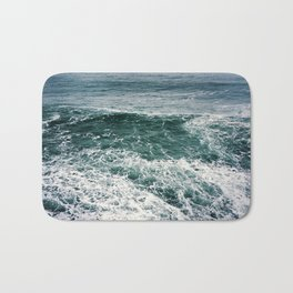 Waves.Ocean.Water Texture.35mm film.Oregon.Sea.Coast.Teal. Bath Mat