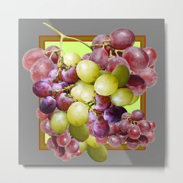 DECORATIVE PURPLE & GREEN GRAPE CLUSTER DESIGN Metal Print