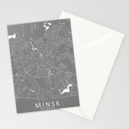 Minsk, Belarus, Grey, City, Map Stationery Cards