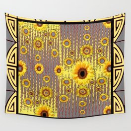 MODERN  ART DECO GOLDEN SUNFLOWERS  GREY-BLACK Wall Tapestry