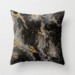 Galaxy (black gold) Throw Pillow