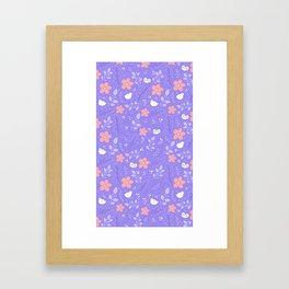 Cute bird and flower pattern Framed Art Print