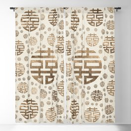 Double Happiness Symbol pattern - pastel gold Blackout Curtain