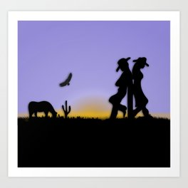 Western Cowboy and Cowgirl on the Range Art Print