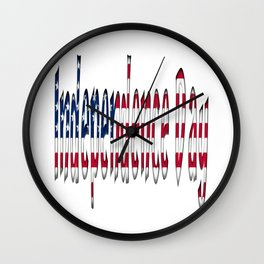 Independence Day American Flag Colors Typography Wall Clock