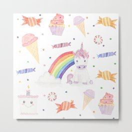 Kawaii Unicorn with Candy and Rainbows Metal Print