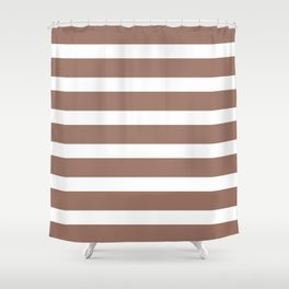 Brown Cacao Stripes and White Shower Curtain