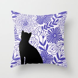 Floral Kitten Throw Pillow