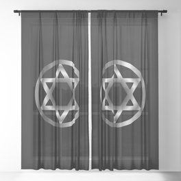 The seal of Solomon- a magical symbol or Hexagram Sheer Curtain