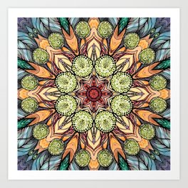 abstract red star hand drawn and kaleidoscope mandala Art Print