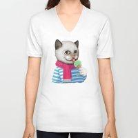 ice cream V-neck T-shirts featuring Ice cream by Tummeow