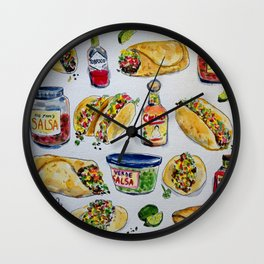 tacos burritos hot sauce and salsa Wall Clock