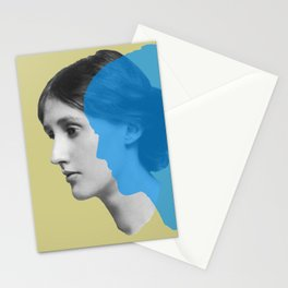 Virginia Woolf portrait green blue Stationery Cards