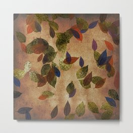Autumn-world 3 - gold glitter leaves on dark backround Metal Print