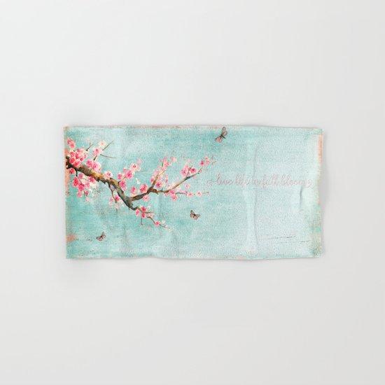 Live life in full bloom - Cherryblossom butterflies Watercolor illustration on aqua Hand & Bath Towel