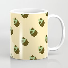 Dark Chocolate Pixel Cupcake Pattern Coffee Mug