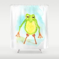 phil jones Shower Curtains featuring Pegleg Phil by Taylor Winder
