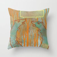 foxes Throw Pillows featuring Foxes by Ariel Wilson
