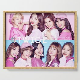 twice pink kpop Serving Tray