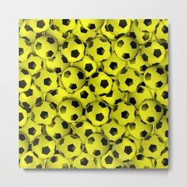 Field of Yellow Soccer Balls Metal Print