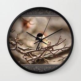 Black-Capped Chickadee in Winter Wall Clock