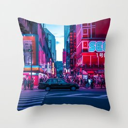 Evening sights of Akihabara Throw Pillow