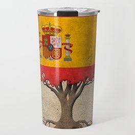 Vintage Tree of Life with Flag of Spain Travel Mug