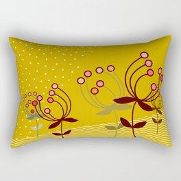 flowers on yellow - Illustration Rectangular Pillow