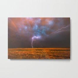 Ride the Lightning - Lightning and Rainbow Over Oklahoma Plains Metal Print